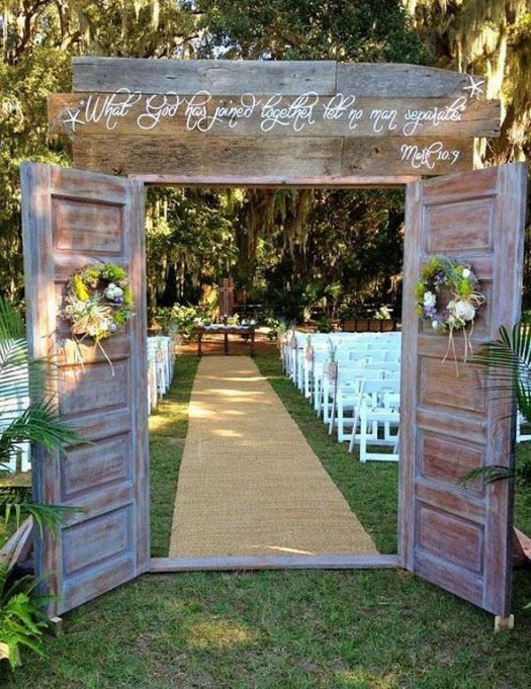 rustic vintage door wedding ceremony entrance decorations