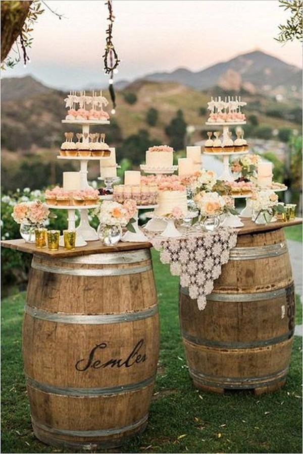rustic wedding dessert display ideas with wine barrel