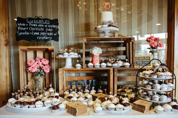 rustic wedding dessert table ideas