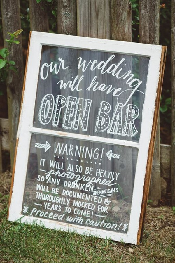 rustic wedding open bar sign with vintage window
