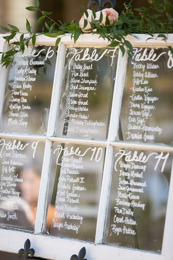 rustic wedding seating chart ideas with vintage window