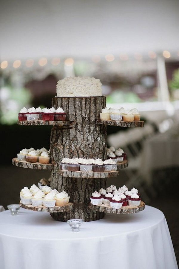 rustic woodland wedding dessert display ideas