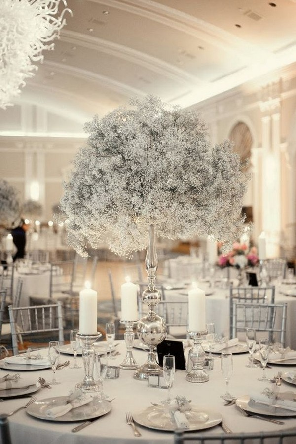 silver and baby's breath winter tall wedding centerpiece ideas