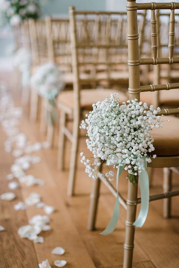 simple elegant baby's breath decorated wedding ceremony aisle