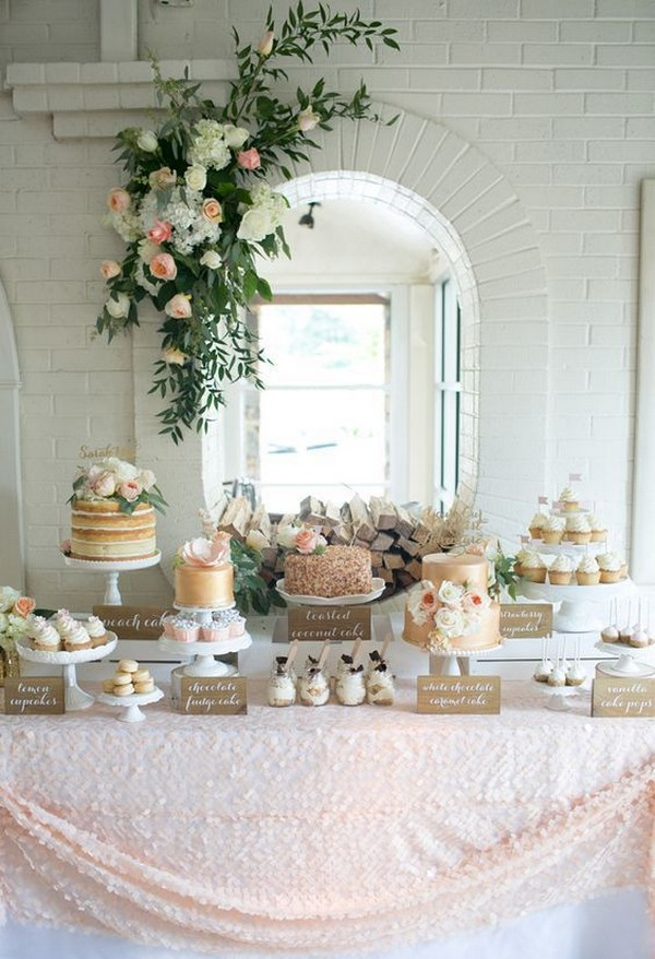 soft pink elegant wedding dessert table ideas
