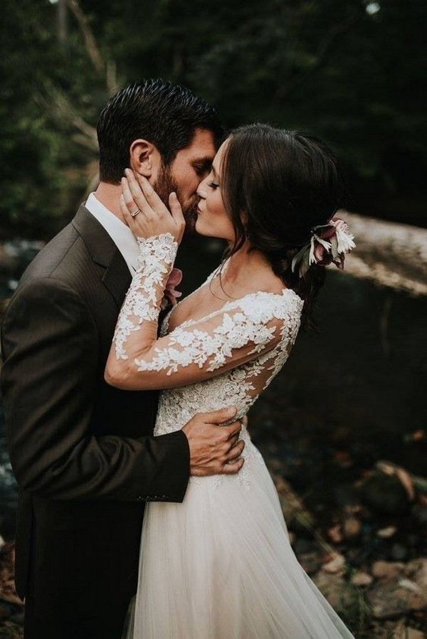stunning wedding dress with long lace sleeves