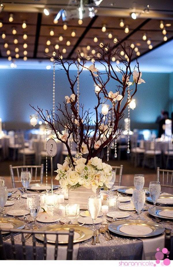 tree branch winter wedding centerpiece ideas