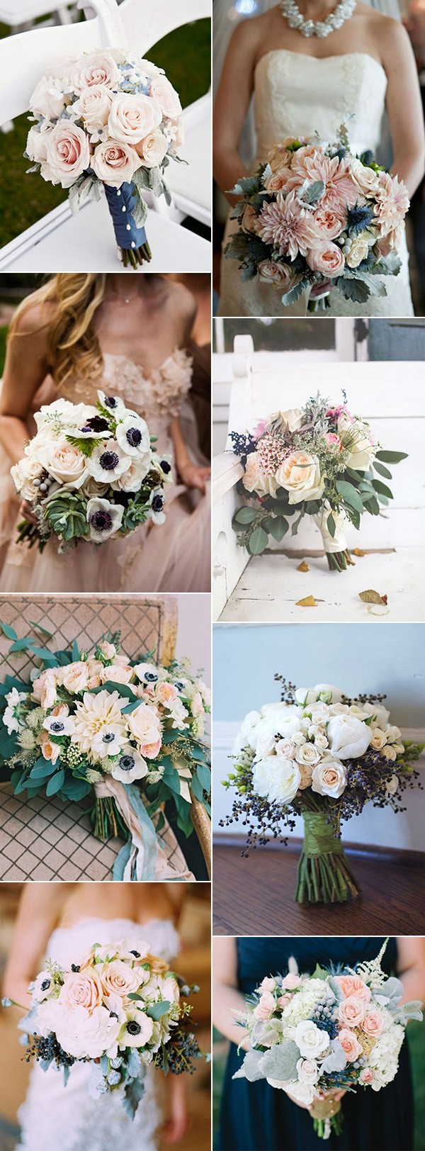 trending navy blue and blush pink wedding bouquet ideas