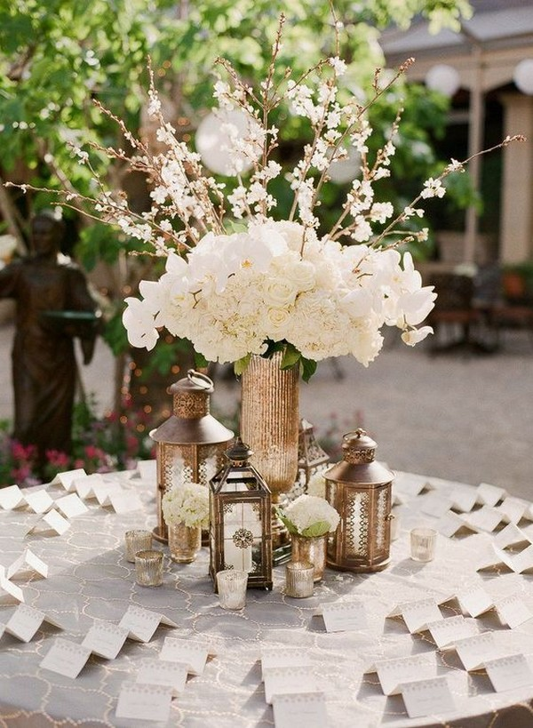 unique wedding escort card table decorations with lanterns