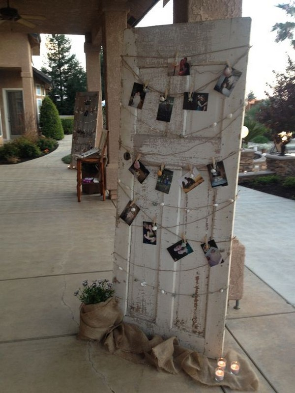 vintage rustic wedding photo display ideas iwth old door
