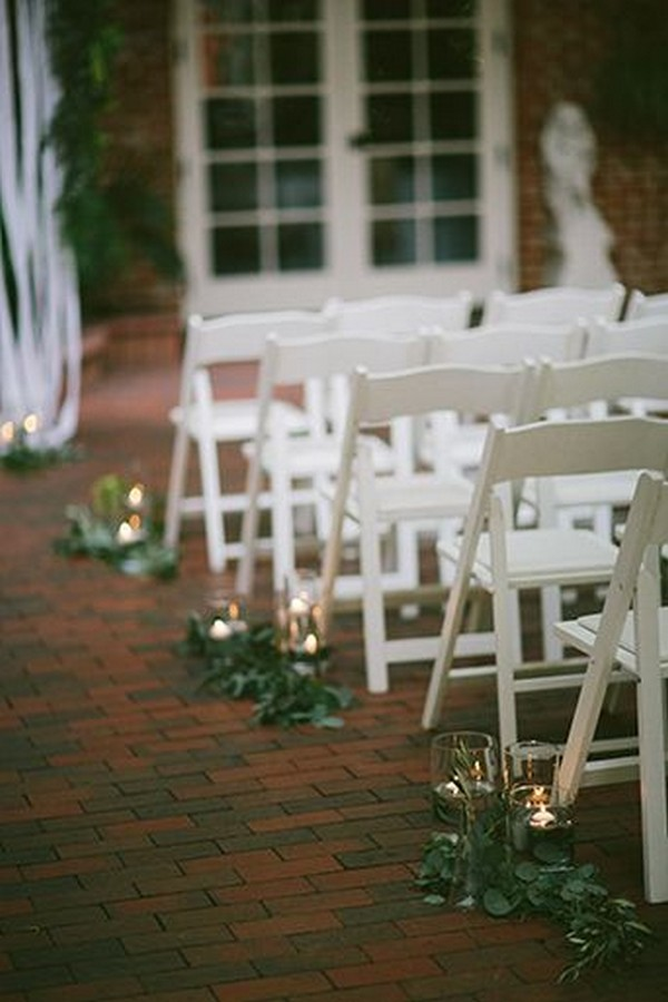 vintage wedding aisle ideas with candles and greenery