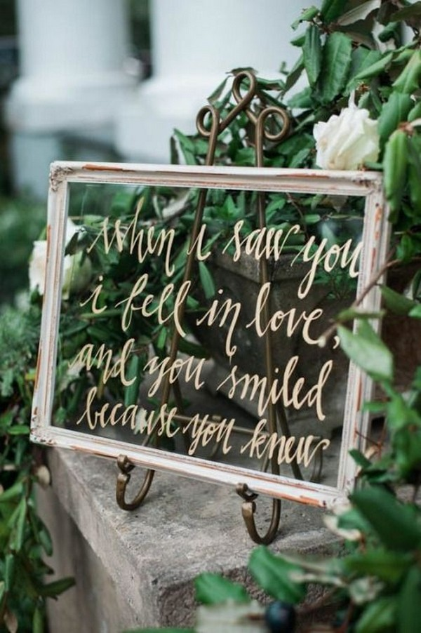 vintage window frame inspired chic wedding sign ideas