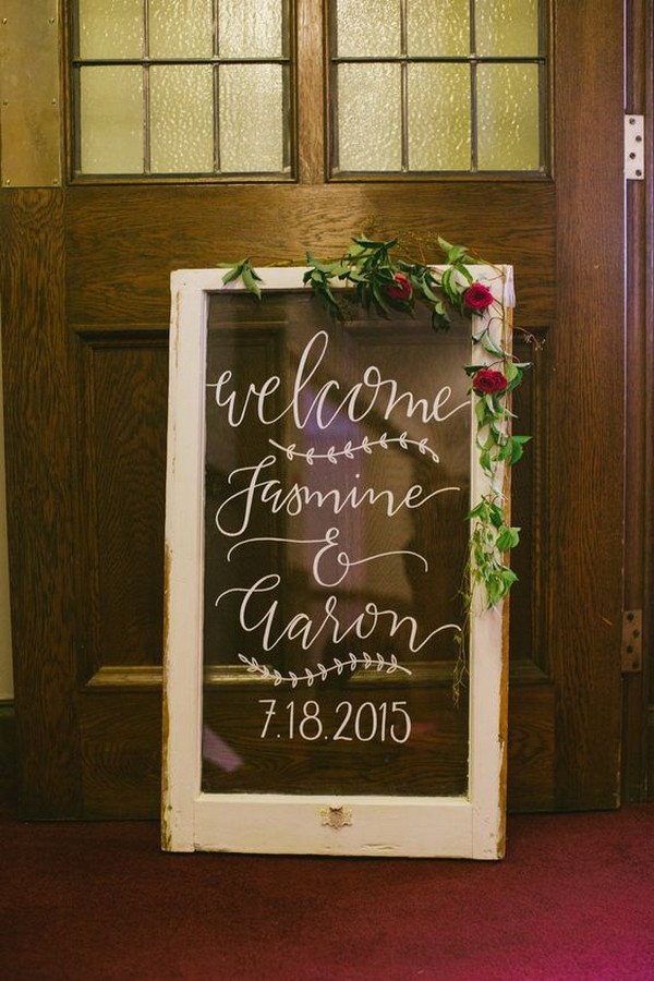 vintage window frame wedding sign ideas