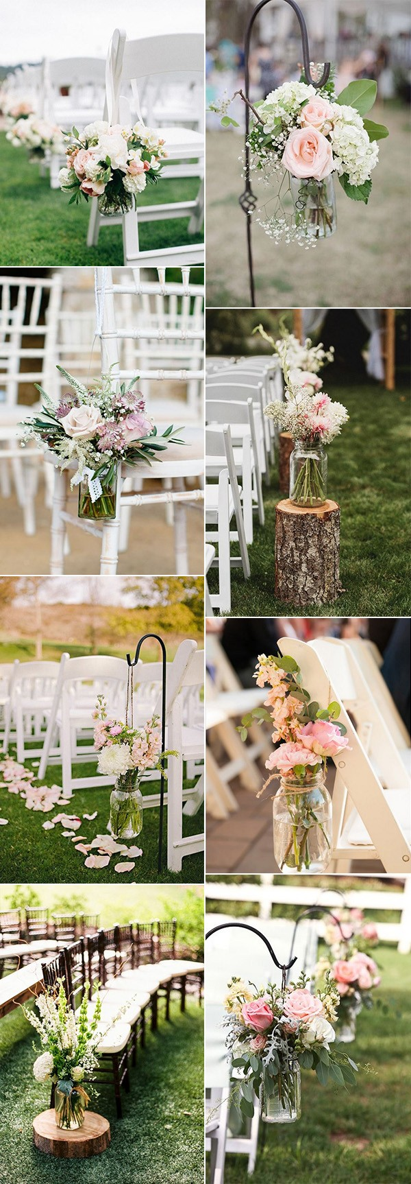 wedding aisle decoration ideas with mason jars