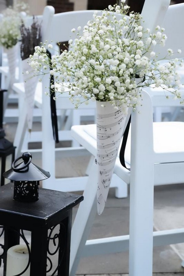 Wedding Ceremony Aisle Decoration Ideas With Babys Breath