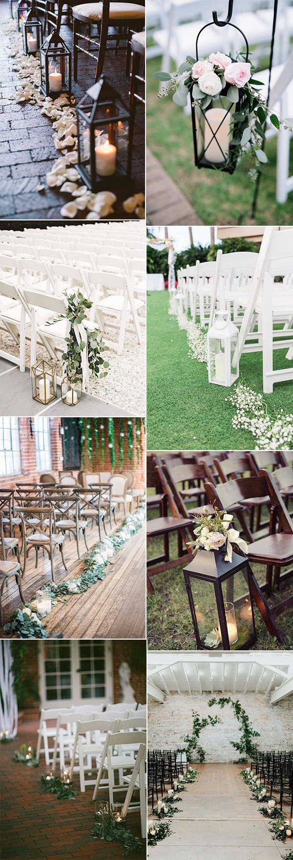 wedding ceremony aisle decoration ideas with lanterns and candles
