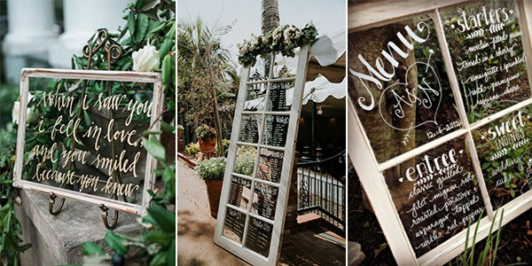 Using old windows for wedding decorations.