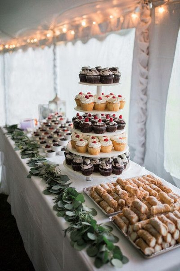 wedding dessert display ideas for tented wedding
