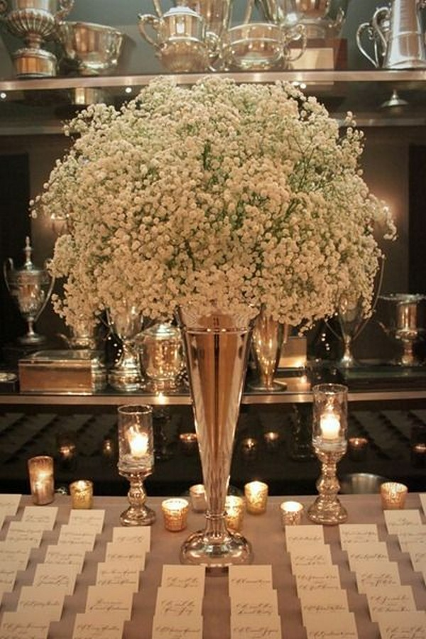 wedding place card table with baby's breath