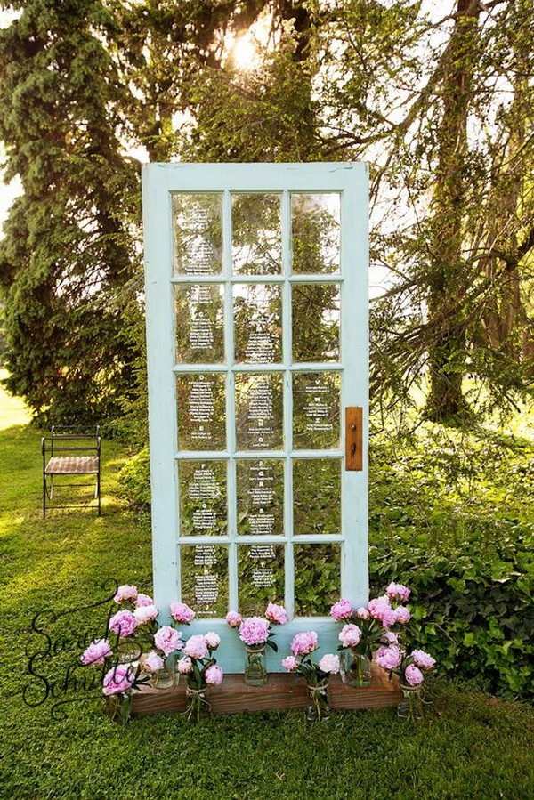 wedding seating chart ideas with vintage old door