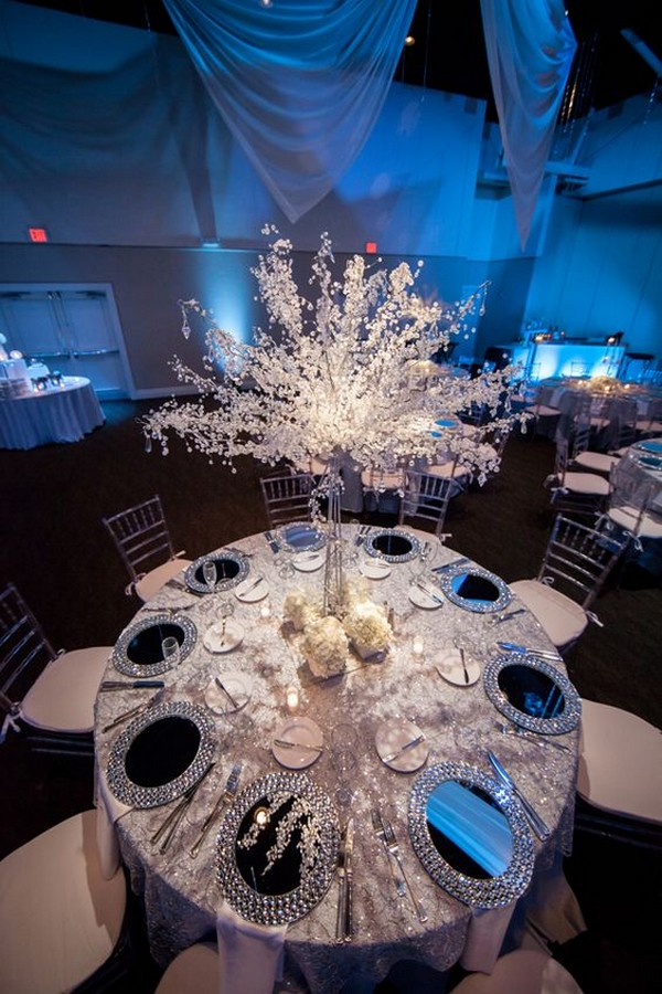 white and silver winter wedding centerpiece