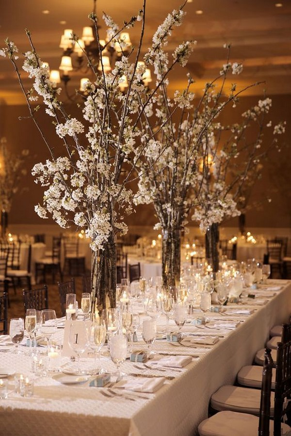 White Cherry Blossom Winter Wedding Centerpiece Ideas