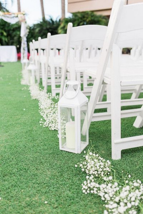 white wedding aisle decoration ideas with lantern and baby's breath