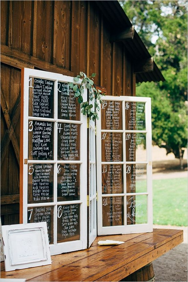 window pane rustic wedding seating chart