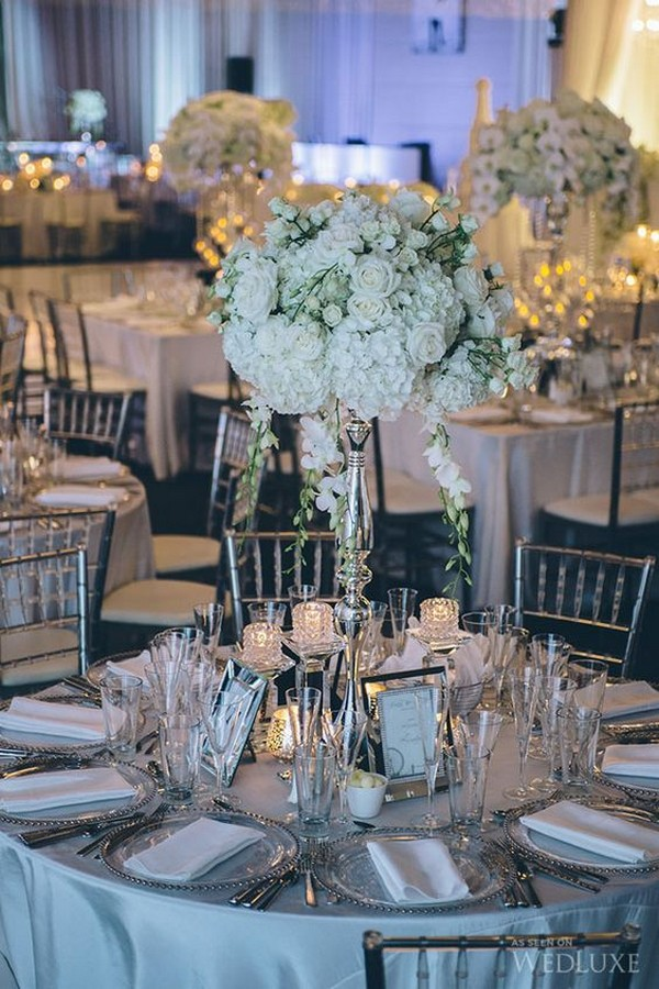 winter white floral wedding centerpiece ideas