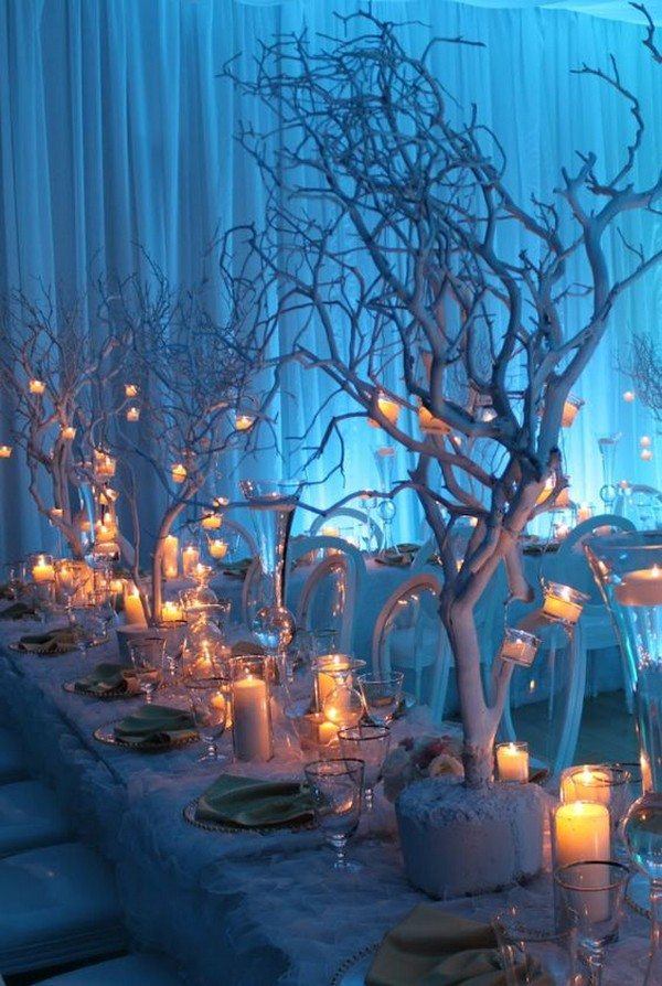 winter wonderland wedding centerpiece with candles