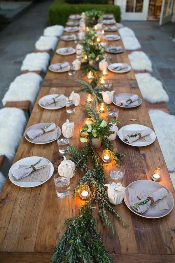 winter woodland wedding centerpiece ideas
