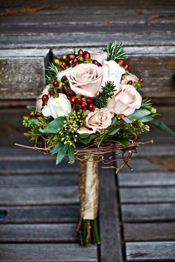 Christmas themed winter wedding bouquet