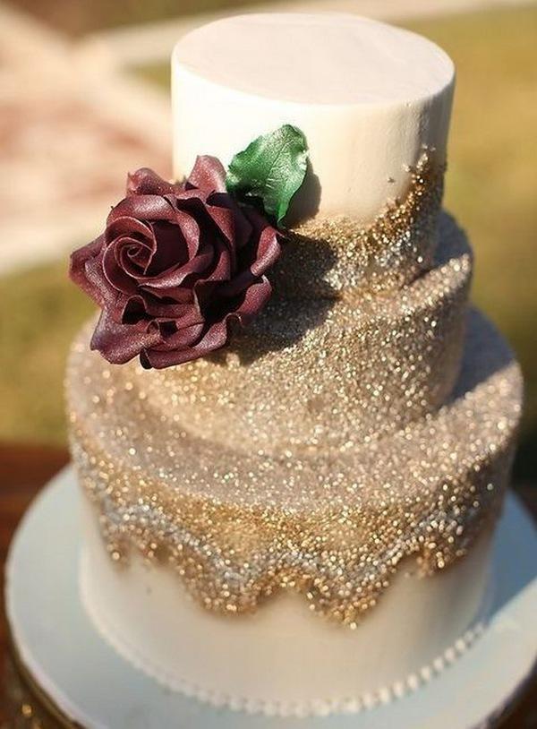 Masala and glitter gold fall wedding cake