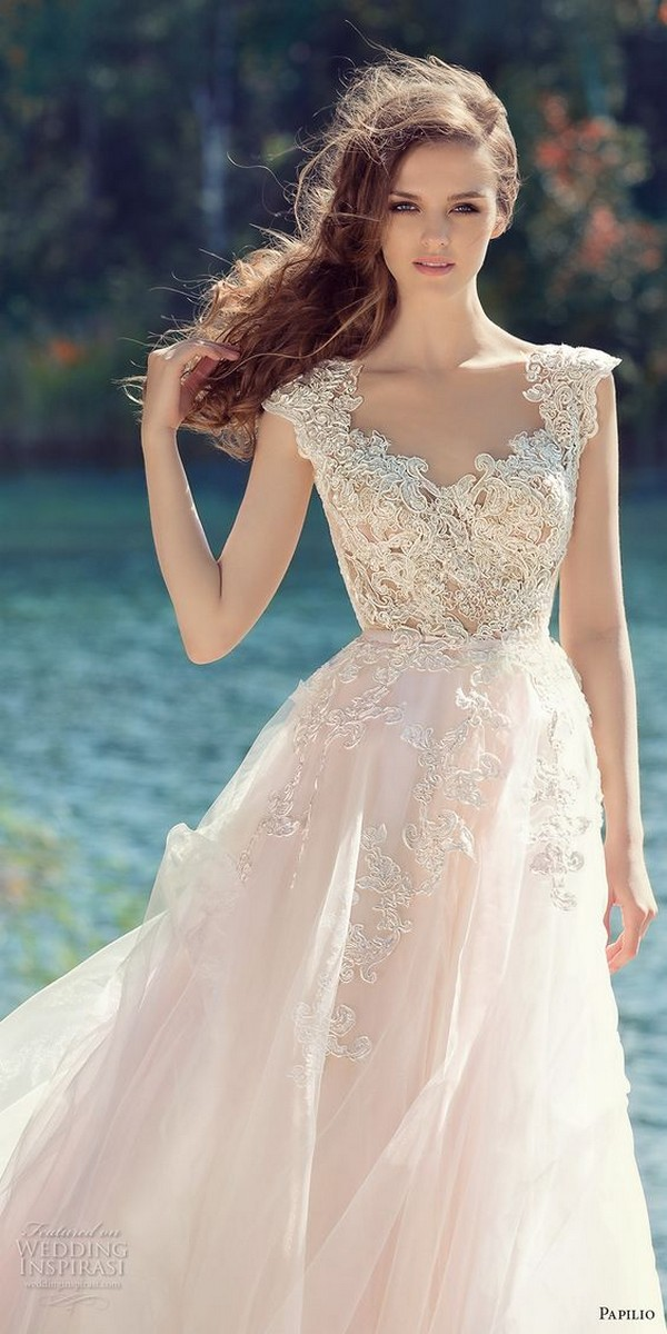 Papilio lace wedding dress with cap sleeves