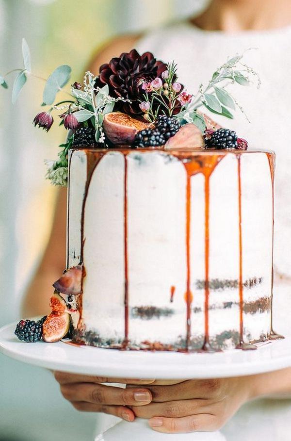 amazing dropped fall wedding cake with fruits