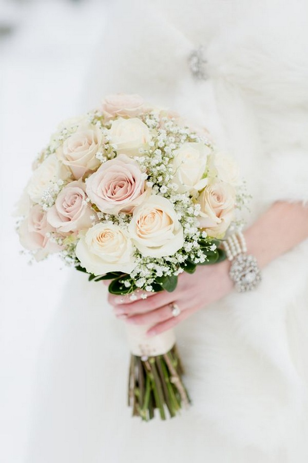blush pink and ivory winter wedding bouquet