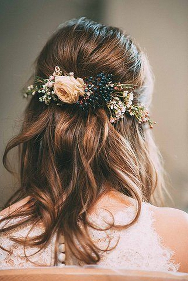 boho chic half up half down wedding hairstyle for fall