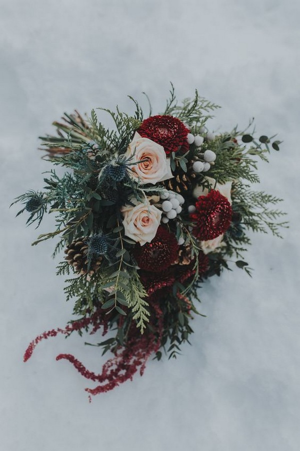 burgundy and blush winter wedding bouquet