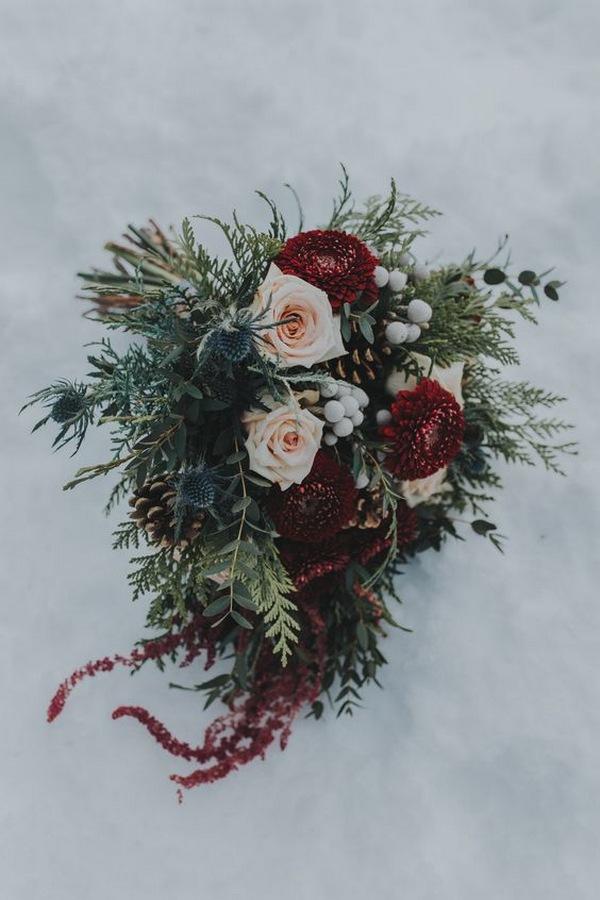 burgundy and blush winter wedding bouquet