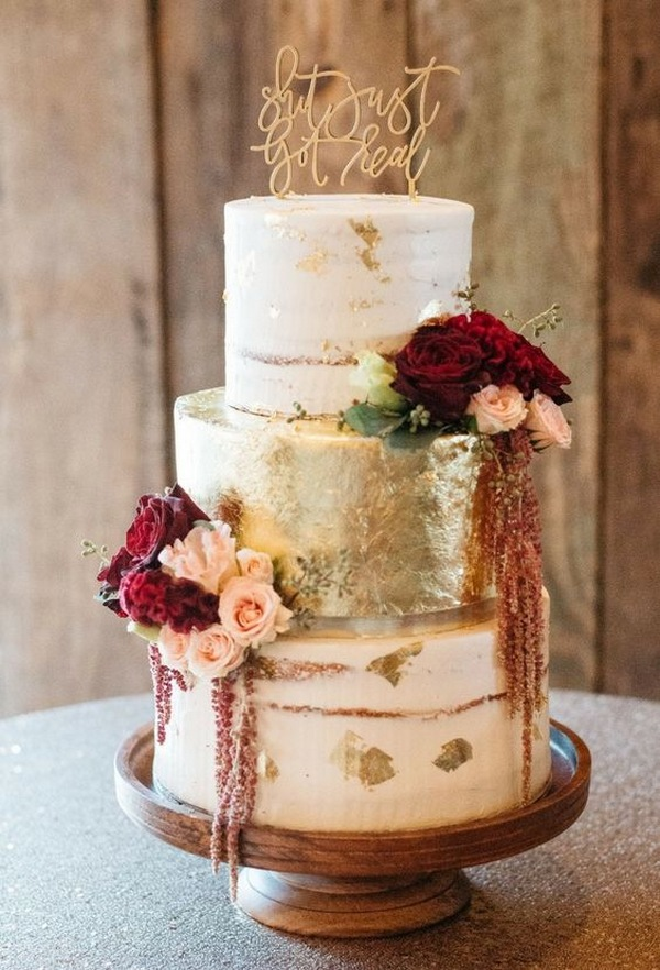 burgundy and gold fall wedding cake