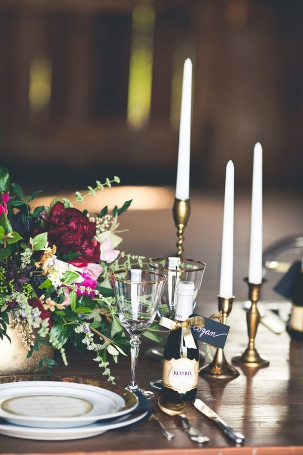 burgundy and gold vintage wedding centerpiece with candlestick