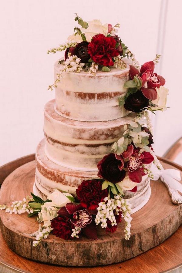 burgundy and greenery semi naked fall wedding cake
