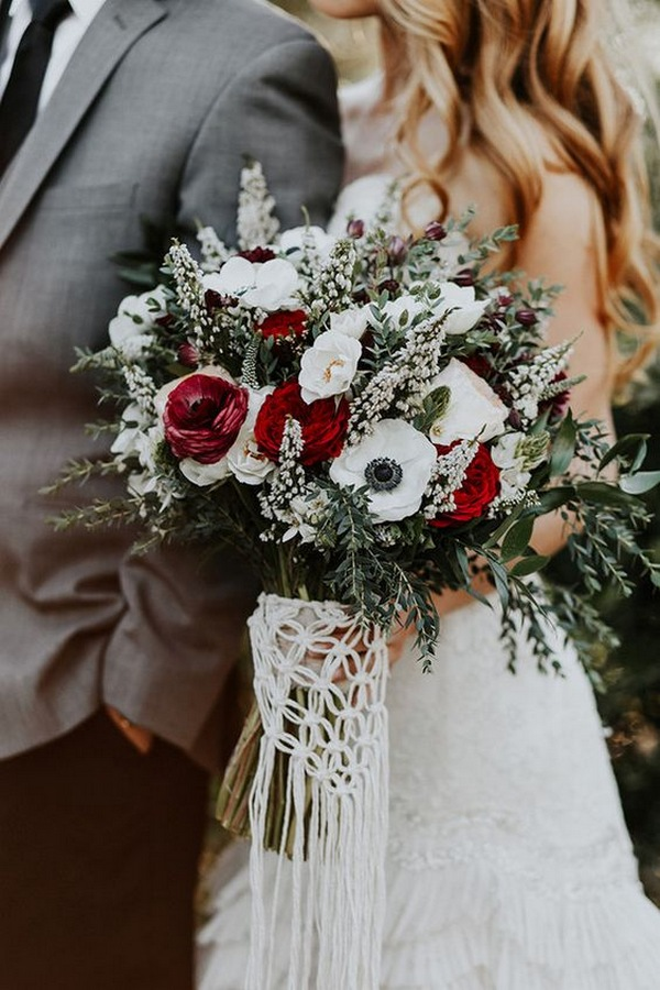 burgundy and greenery winter wedding bouquets