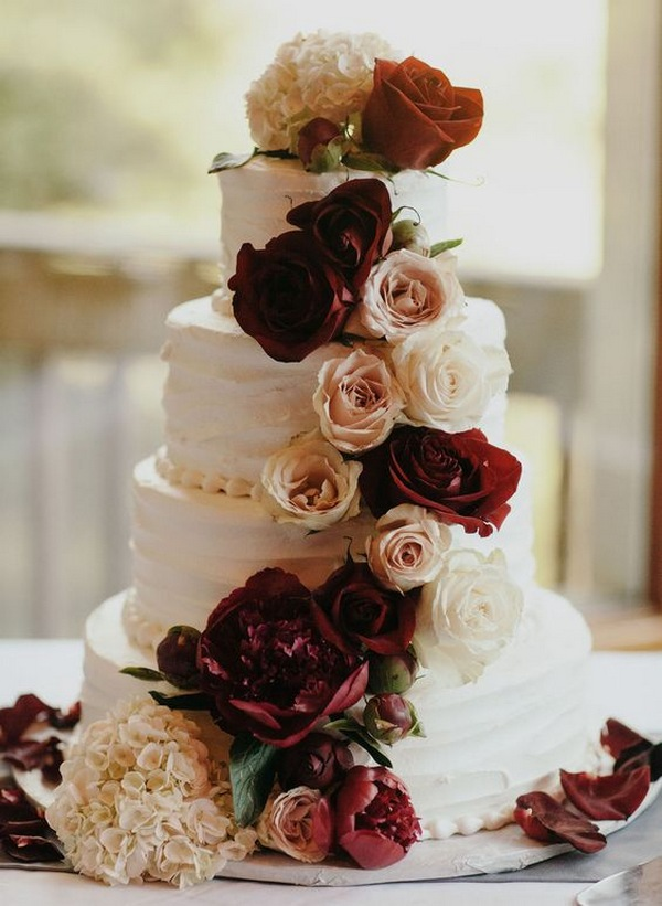 burgundy and ivory floral fall wedding cake