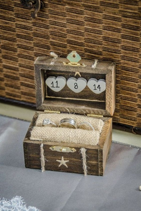 burlap and wooden rustic wedding ring box