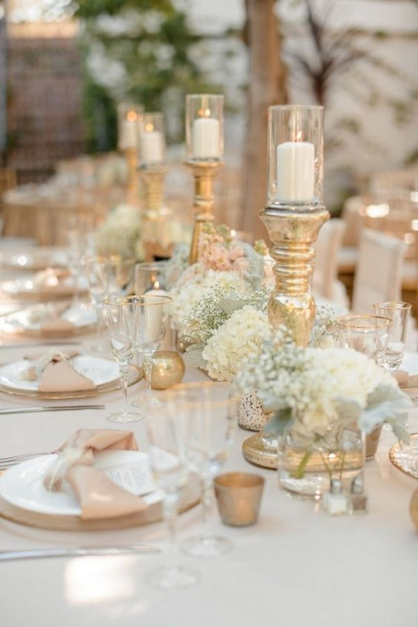 Chic Blush And Gold Wedding Centerpiece Ideas With Candlesticks