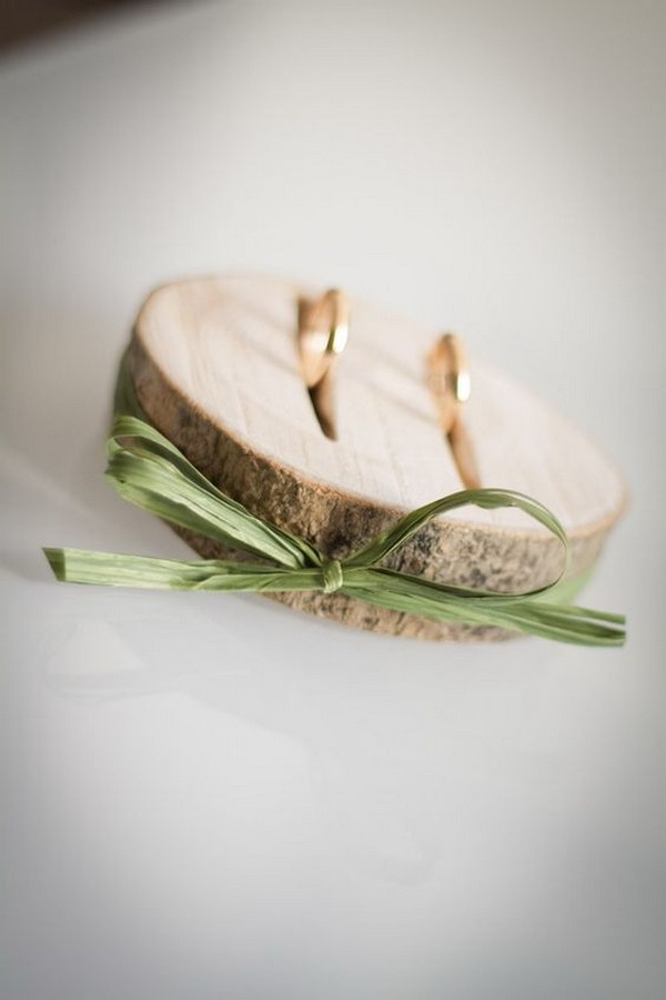 chic rustic wood ring bearer pillow