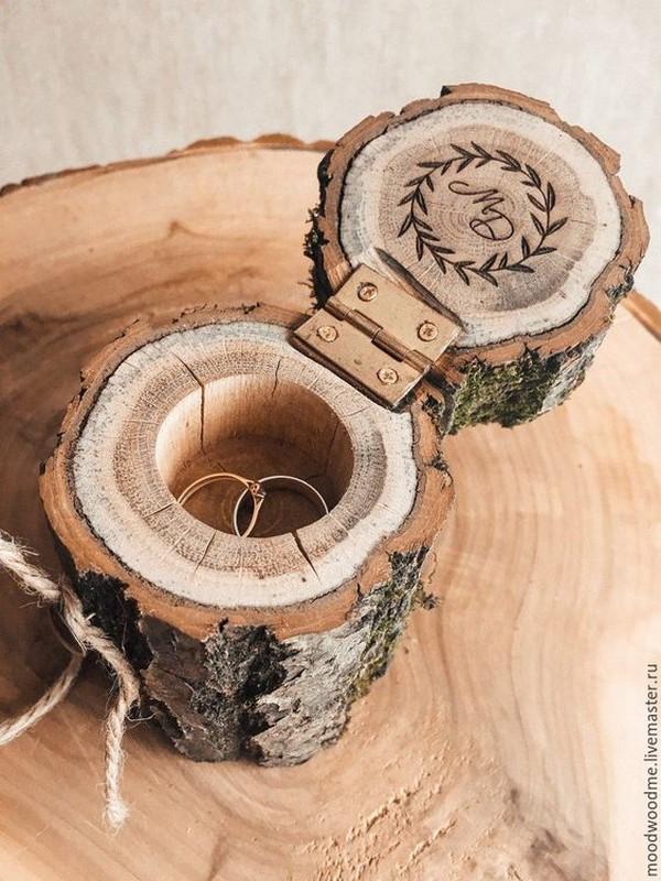 creative rustic wooden wedding ring box