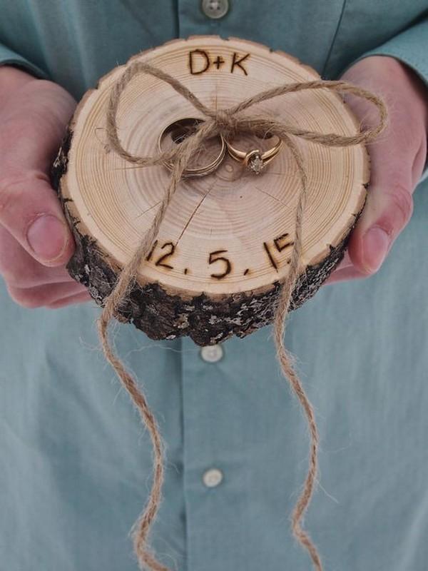 custom diy rustic wood wedding ring bearer pillow ideas