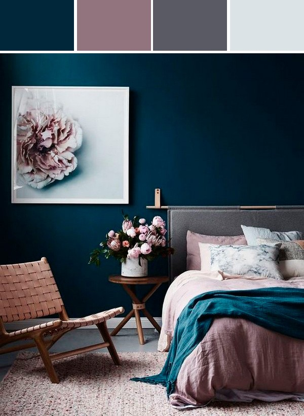 dusty pink and blue bedroom color ideas